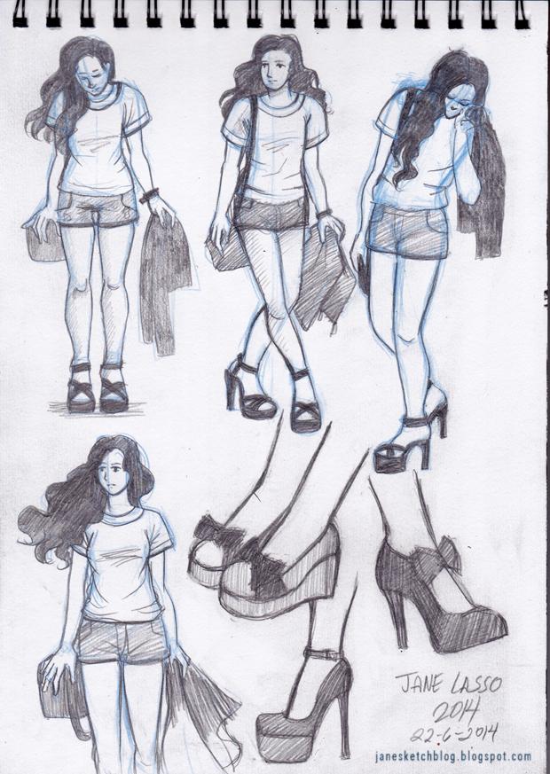 Dibujo de poses y zapatos.