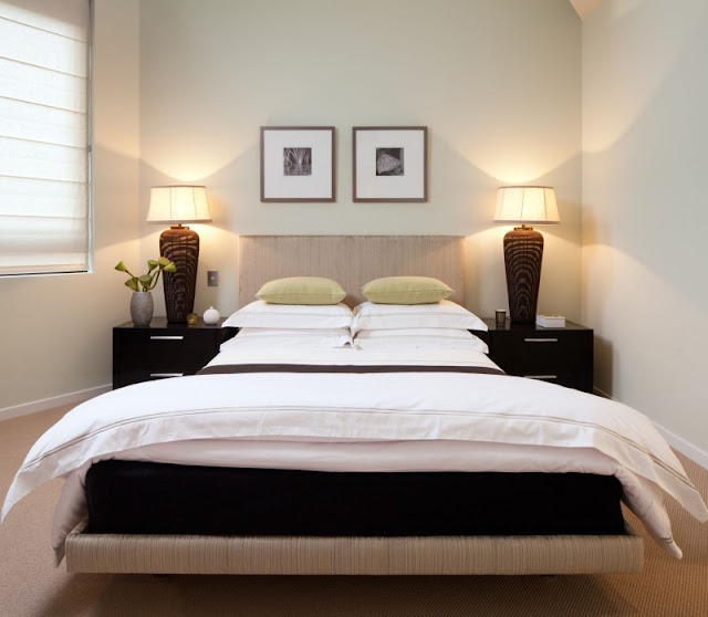 Photo of big modern bed in the bedroom