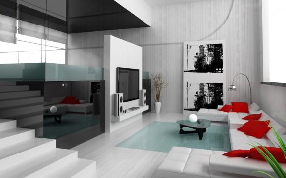 Dise os elegantes y lujosos de salas de estar con colores for Sala de estar rojo y blanco