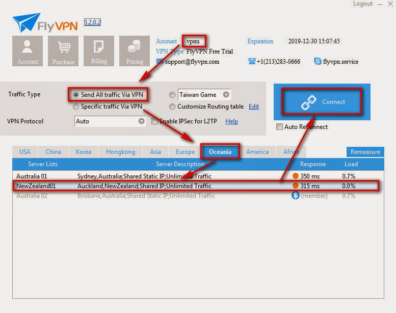 Connect to New Zealand trial VPN Server of FlyVPN
