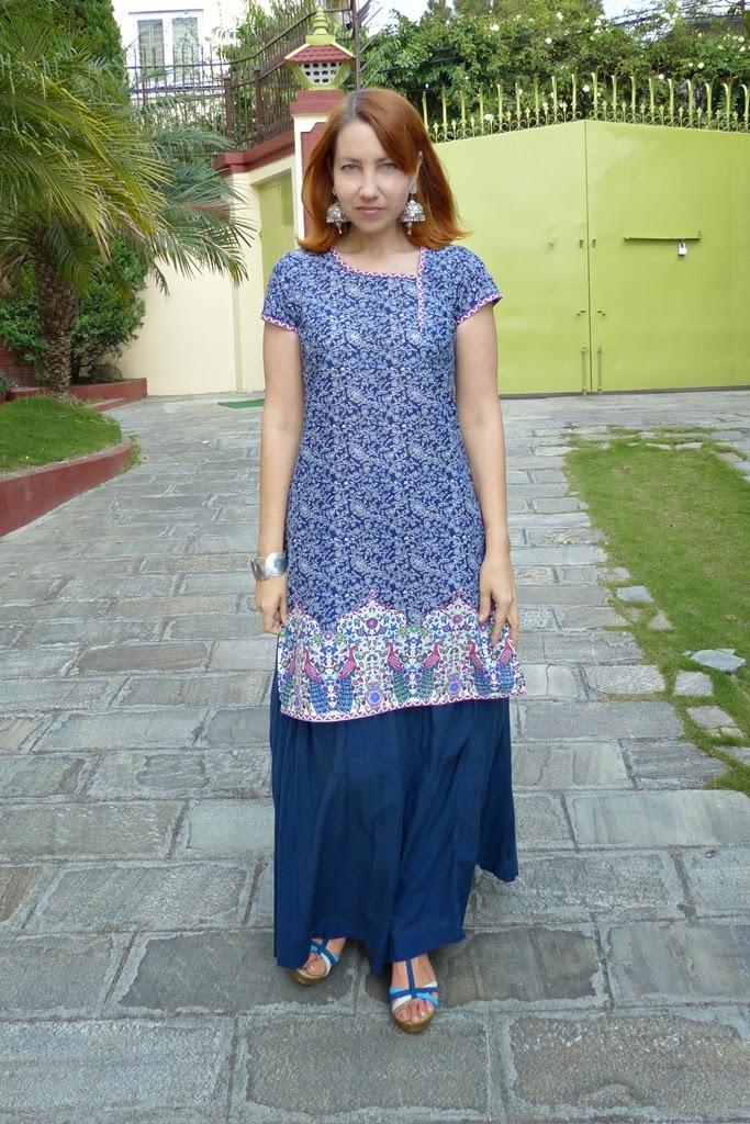 local fashion navy blue maxi skirt ethnic way