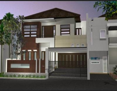 rumah minimalis tampaak depan dengan batu alam