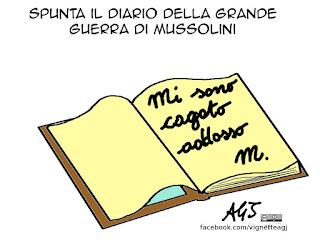 Mussolini, prima guerra mondiale, diario, vignetta, satira