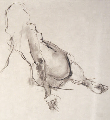 Jenna, gesture, charcoal on paper, by Shannon Reynolds