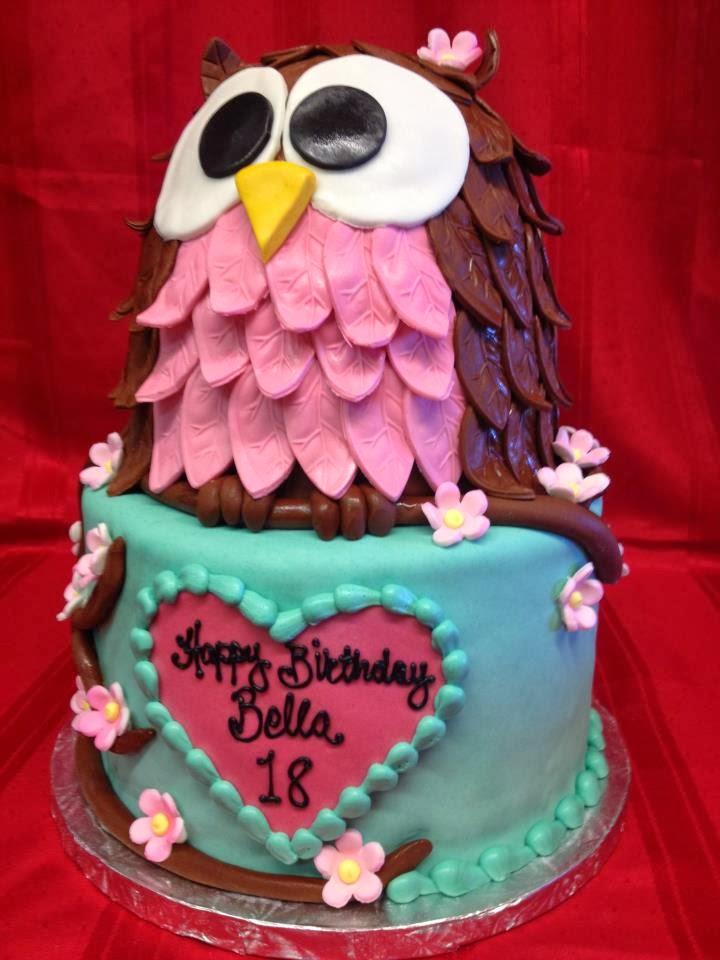 3d owl birthday cake