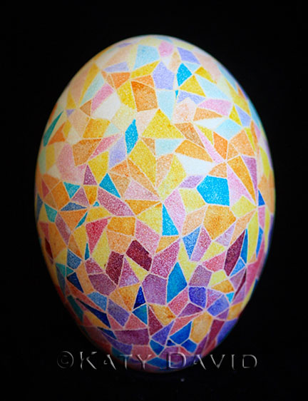 Friday Egg: Gravity Shards, Goose Egg Pysanky,  ©Katy David