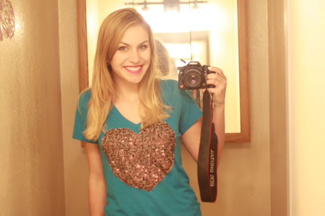 sequin heart shirt--alternative to the sweater