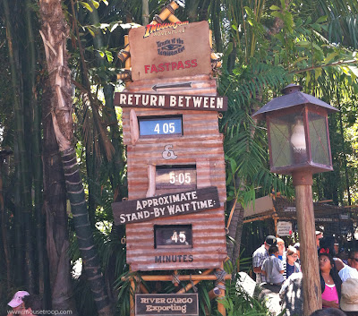 Disneyland Indiana Jones Adventure Temple Fastpass sign ride