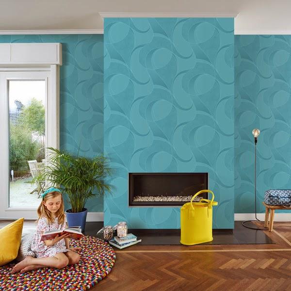Papel pintado papel pintado uptown grandeco - Azul turquesa pared ...