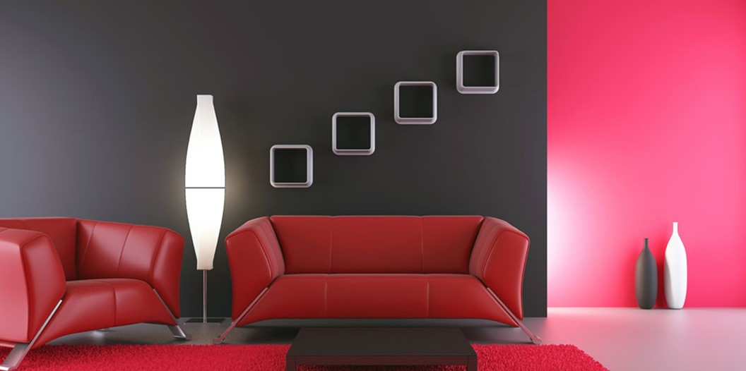 Simplicity is the keynote of all true elegance wall paint colours for Interior design red and black living room