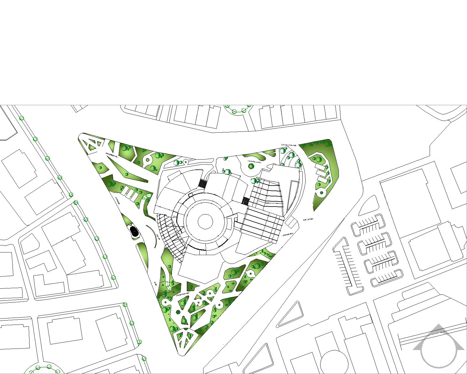 Bossa design block and site plan of museum musik indonesia Site plan design