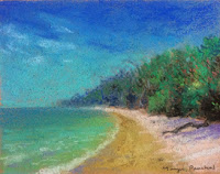 Soft pastel seascape demo done during art workshop by Manju Panchal