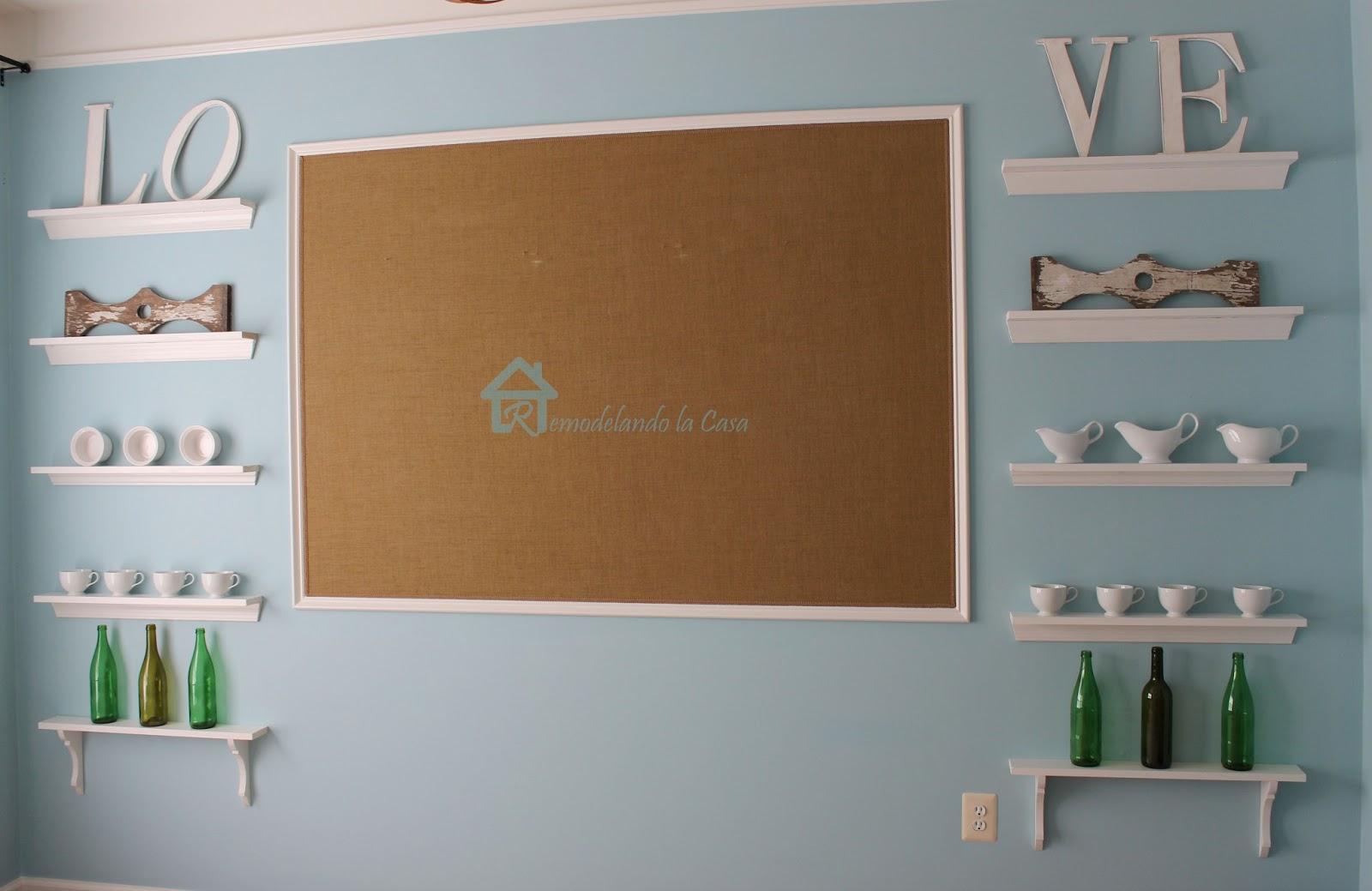 Empty Kitchen Wall Remodelando La Casa Shallow Open Shelves In Dining Room