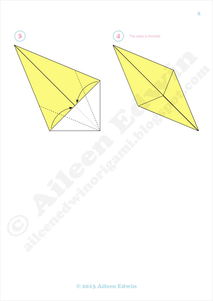 Origami diamond base diagrams
