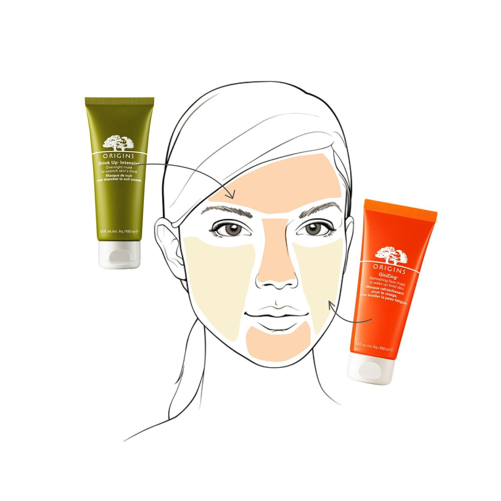 เวลาเราพักผ่อนไม่พอผิวหน้าจะหมอง เลยต้องปลุกความสดชื่นด้วย GinZing Refeshing Mask บริเวณแก้มและใต้ตา แล้วก็เติมความชุ่มชื่นด้วย Drink Up Intensive Mask บริเวณหน้าผาก จมูก และคาง