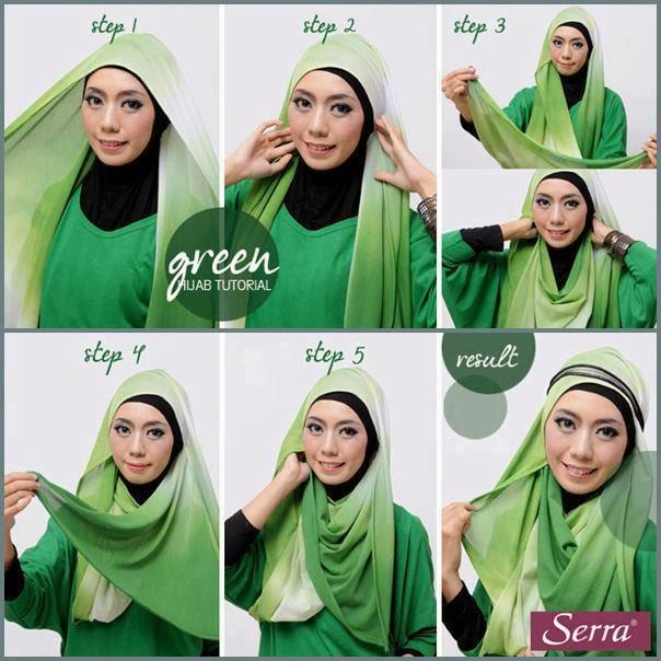 cara memakai hijab pashmina hijau