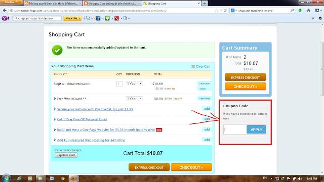 Tên miền giá rẻ từ namecheap chỉ với 1.16$, coupon namecheap tháng 8 2