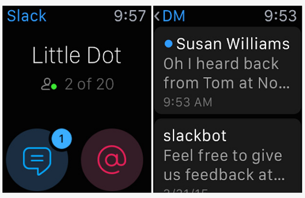 Slack para Apple Watch