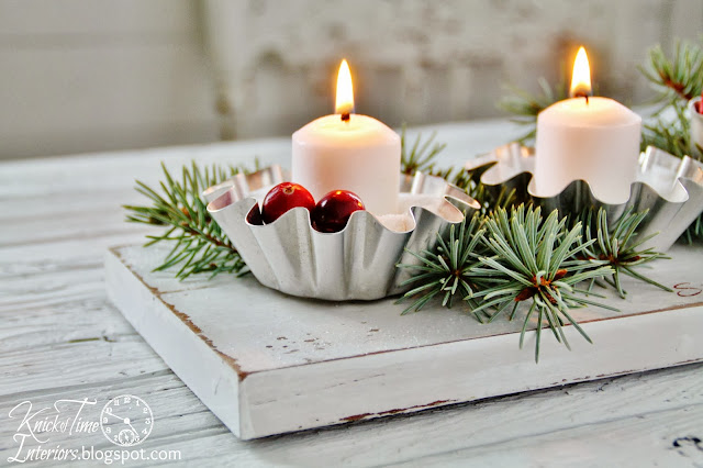 Repurposed Metal Tins Christmas Candle Holder Centerpiece via Knick of Time