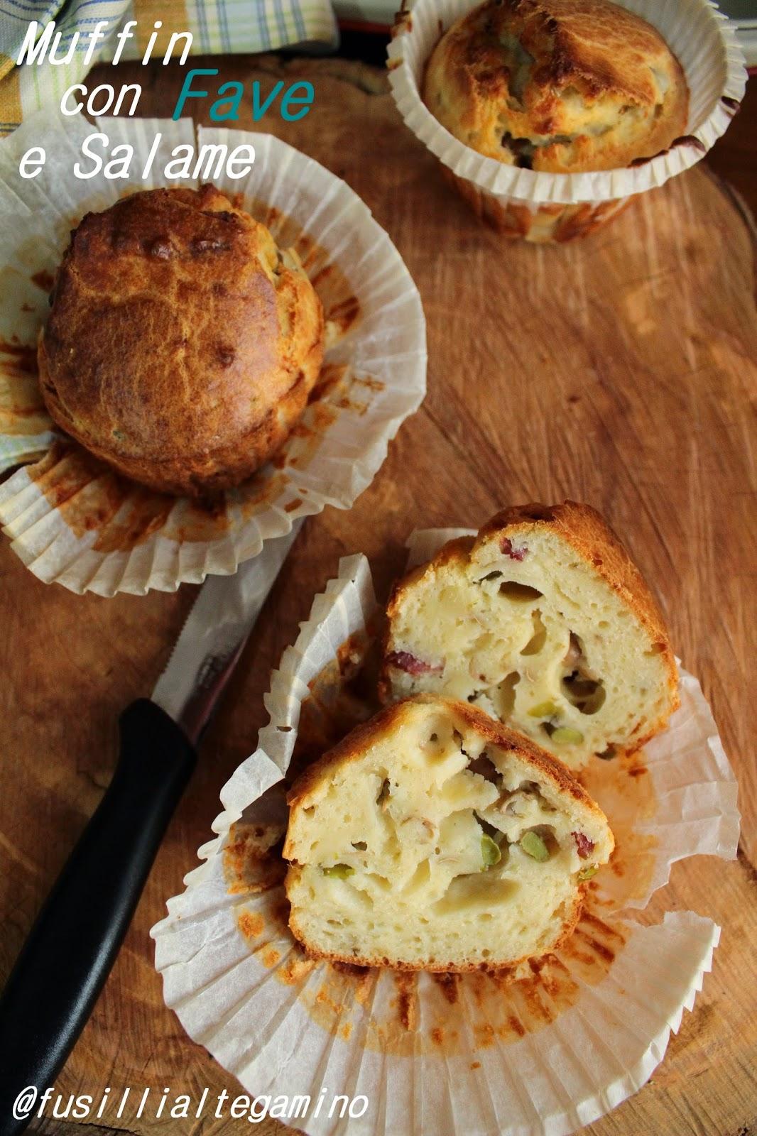 muffin con fave e salame