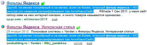 Выдача Яндекса с одинаковым сниппетом