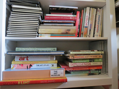 IKEA Hemnes Bookcase with art books