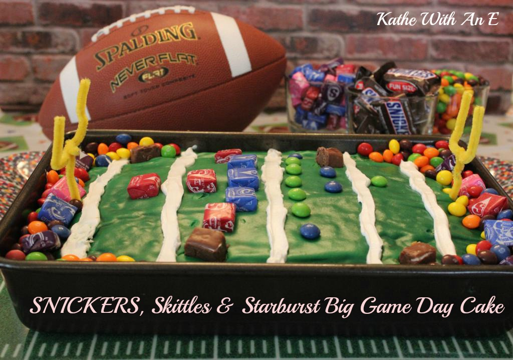 Create the perfect fun cake for the Big Game with SNICKERS, Skittles and Starburst Candy!