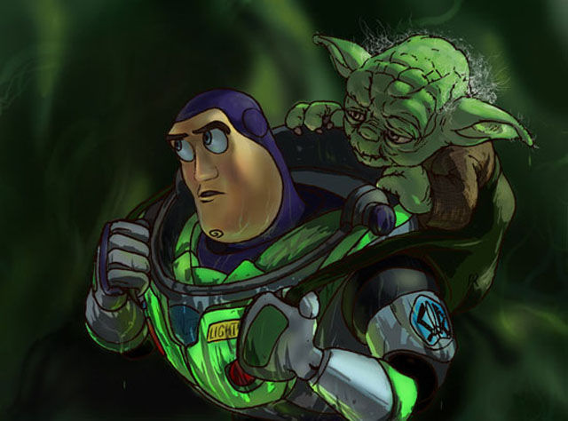 Buzz lightyear with master yoda picture star wars vs disney