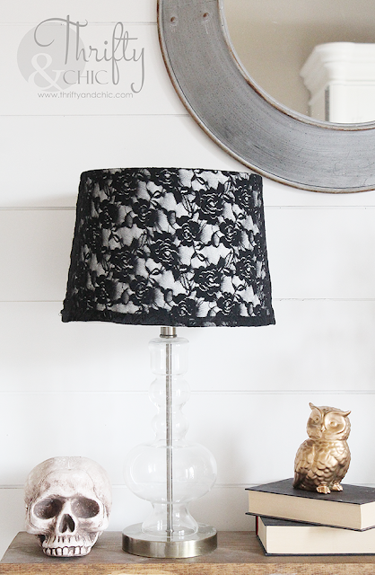 Put an old lace shirt over a lamp...perfect easy project to spice up any lamp for Halloween!