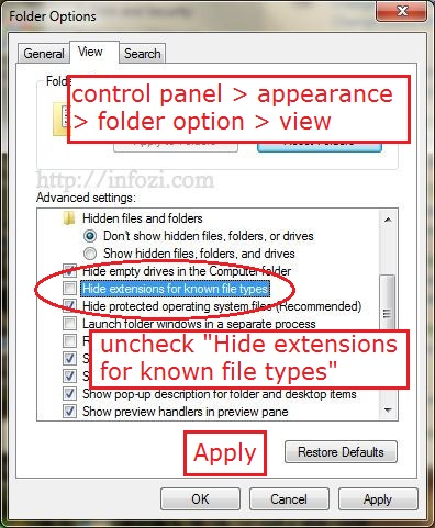 pada 'Hide extensions for knows record types' dan click 'Apply
