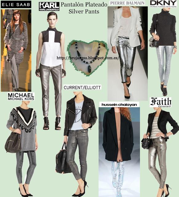 Pantalones plateados de diferentes colecciones y pasarela pretaporter de varios diseñadores. Silver pants Michael kors dnkny balmain