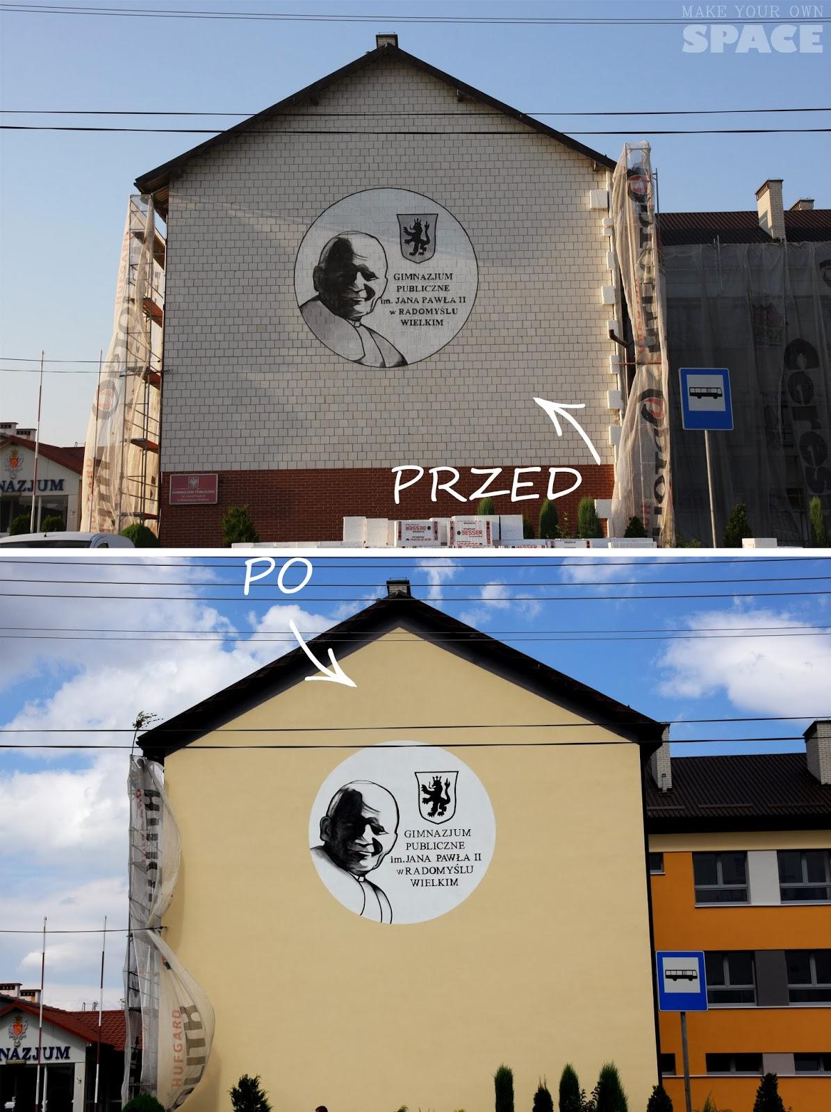 papież, mural, gimnazjum, elewacja, przed i po,
