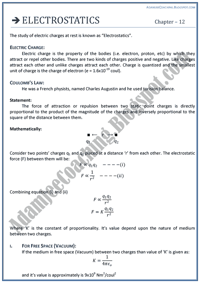Electrostatics-Theory-Notes-Physics-XII