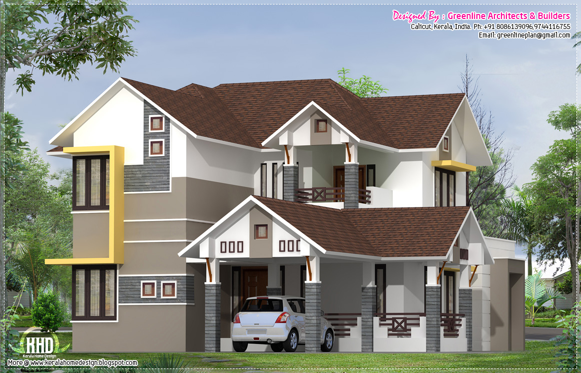 Eco friendly houses 2400 modern elevation for Contemporary house elevation in kerala