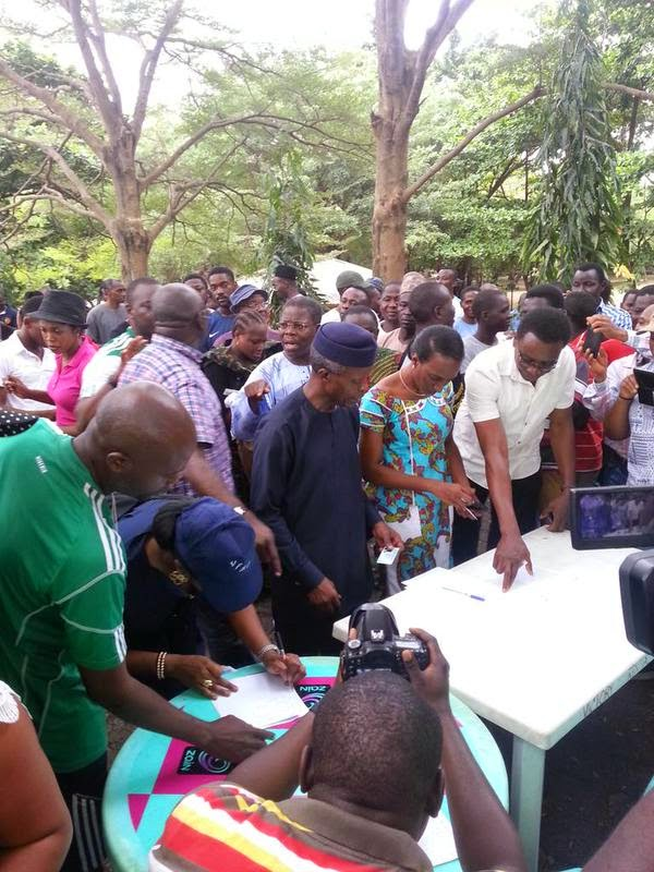 APC Vice Presidential Candidate Prof. Osinbajo and his wife getting accredited