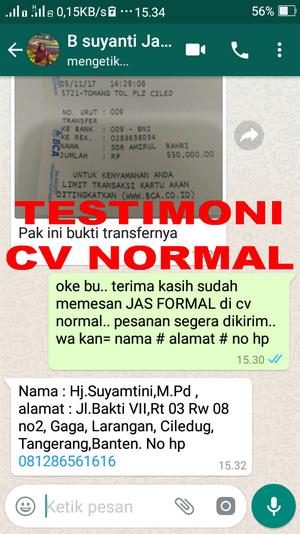 TESTIMONI PEMBELIAN JAS PENGANTIN/ FORMAL CV NORMAL