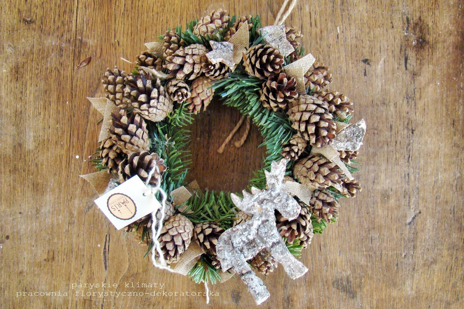 Znalezione obrazy dla zapytania wianki świąteczne naturalne