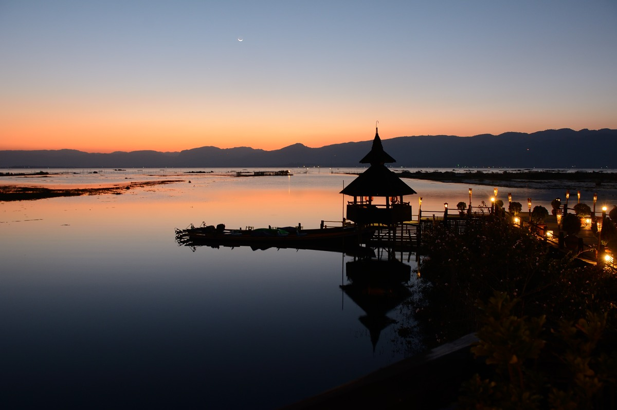 Sunset at Myanmar Treasure Resort at Inle Lake