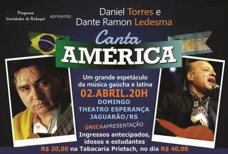 DANIEL TORRES E DANTE RAMON LEDESMA DIA 02 DE ABRIL 2017 NO THEATRO ESPERANÇA