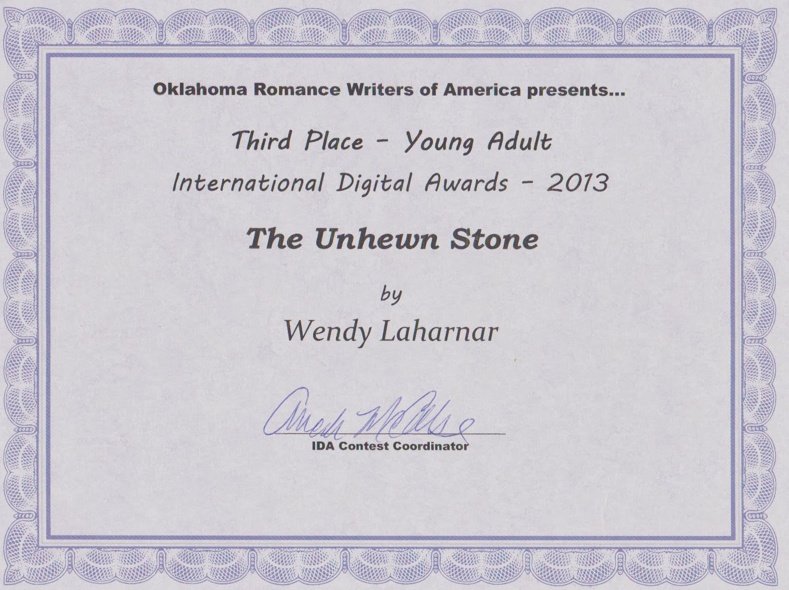 IDA Award for The Unhewn Stone