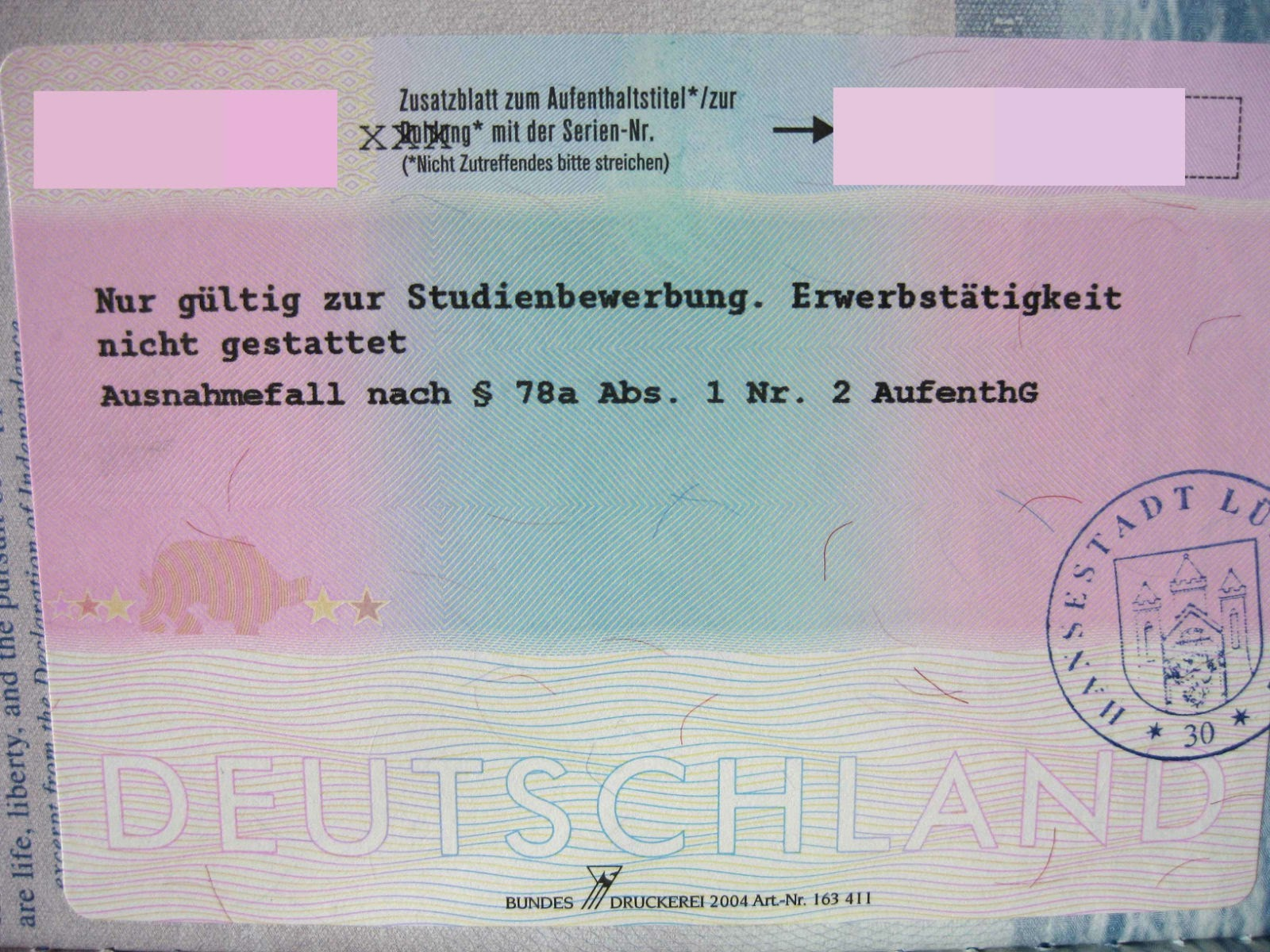 German student application visa