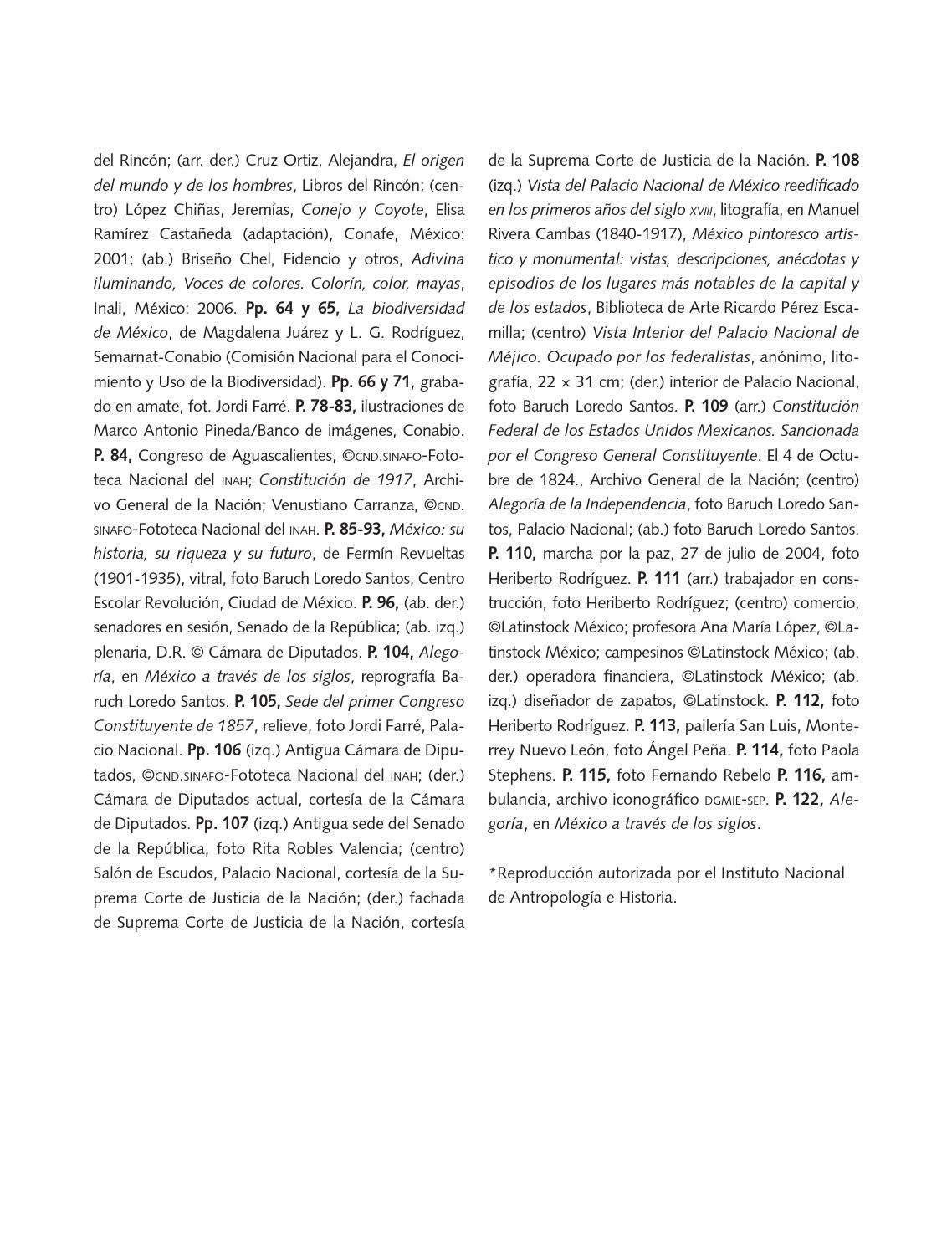 Créditos iconográficos  - Formación Cívica y Ética 4to Bloque 5 2014-2015