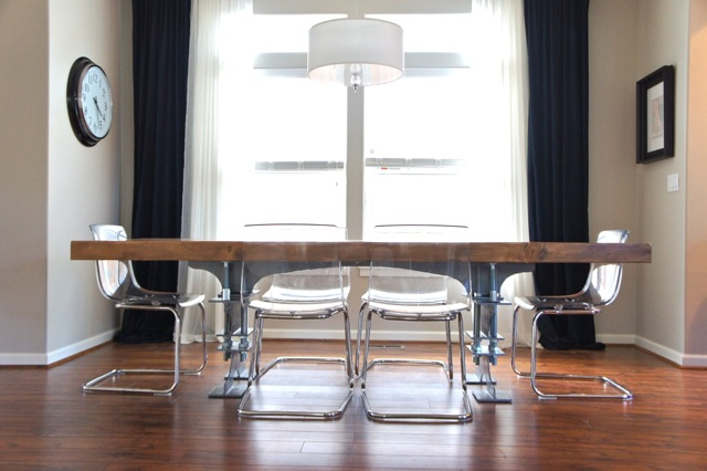 Yes  they are see through  We want the table to be the highlight and if the  chairs are solid  it would take away from the legs  At least for now that s  what  Pretty Dubs  DIY I Beam Dining Table  Rustic and Industrial. See Through Office Chairs. Home Design Ideas