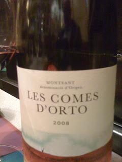 Les Comes d'Orto, 2008. DO Montsant