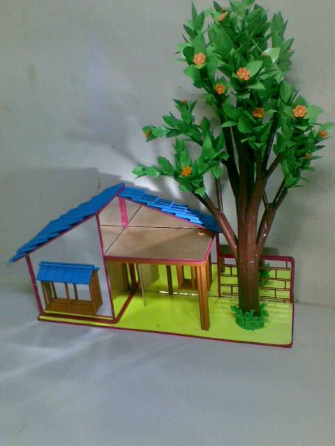 Artesanias franco barinas casas hechas de cart n y el fondo de vidrio espejo Casas hechas de carton