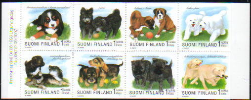 1998年フィンランド共和国 バーニーズ・マウンテン・ドッグ プーミー ボクサー ビション・フリーゼラップフンド ダックスフンド ケアーン・テリア ラブラドール・レトリーバーの切手帳
