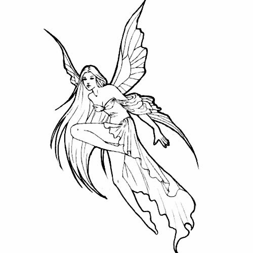 Flying fairy tattoo stencil