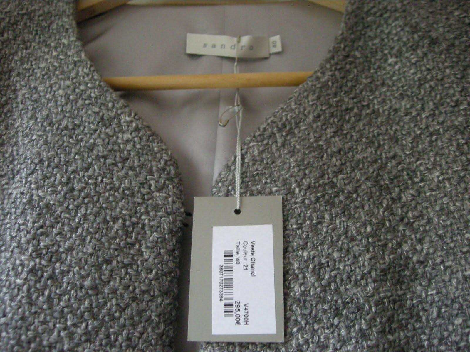 marque pas cher vide dressing Flora : SANDRO – Veste costume grise « Chanel » 35% laine - T40 - NEUVE