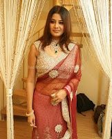Sangeetha, navel, in, transsparent, saree