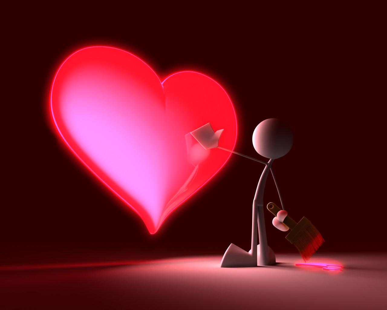 Imagem de fundo boneco ao lado de coração em tons vermelhos